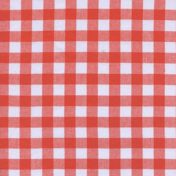 One Yard - 1 Yard of Half Inch Gingham Yarn Dyed in Coral - CHECKER WOVEN BASICS by Cotton & Steel