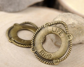 DIY 25 pcs antique bronze or silver life ring charm pendant