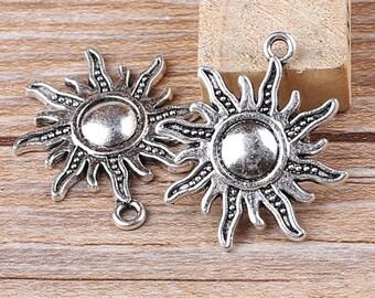 DIY 25 pcs antique bronze or silver sun charm pendant  28x25mm