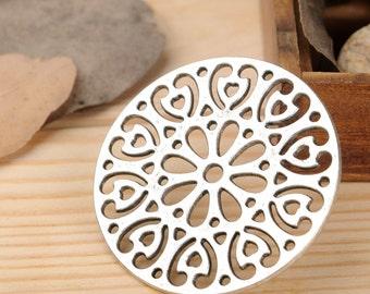 DIY 10 pcs antique silver hollow flower badge charm pendant  47mm