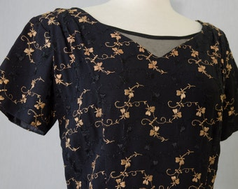Vintage Black and Gold Floral Embroidered Wiggle Dress Appx Size Medium (1960s)