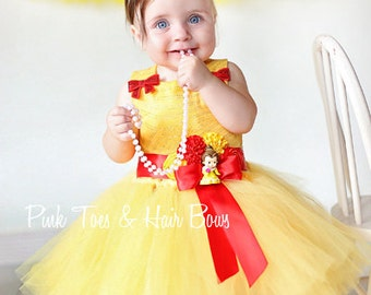 Princess Belle Tutu dress-Princess Belle dress- Princess belle dress-Princess Belle costume-beauty and the beast-belle birthday dress