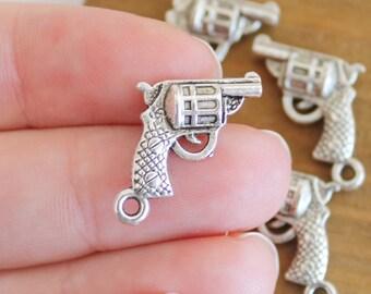 Set of 4 Mini Hand Gun Pistol Revolver Gun Lover 3D Charms in Antique Silver 18x19mm  SET of 4 Mini Pendant Jewelry Supplies diy Supply