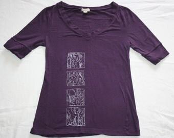 hand printed purple womens shortsleeve medium