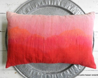 Vintage linen coral crimson red ombre hand dyed pillow 40 x 60 cm