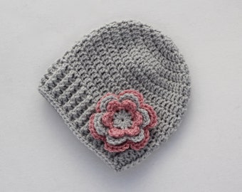 Baby hat, crochet baby hat, baby girl hat, silver grey and pink, girl winter hat, infant hat, crochet beanie, baby beanie - MADE TO ORDER