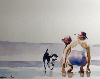 """Original Watercolour Painting,""""Searching For Snails"""" ,free shipping North America and UK."""