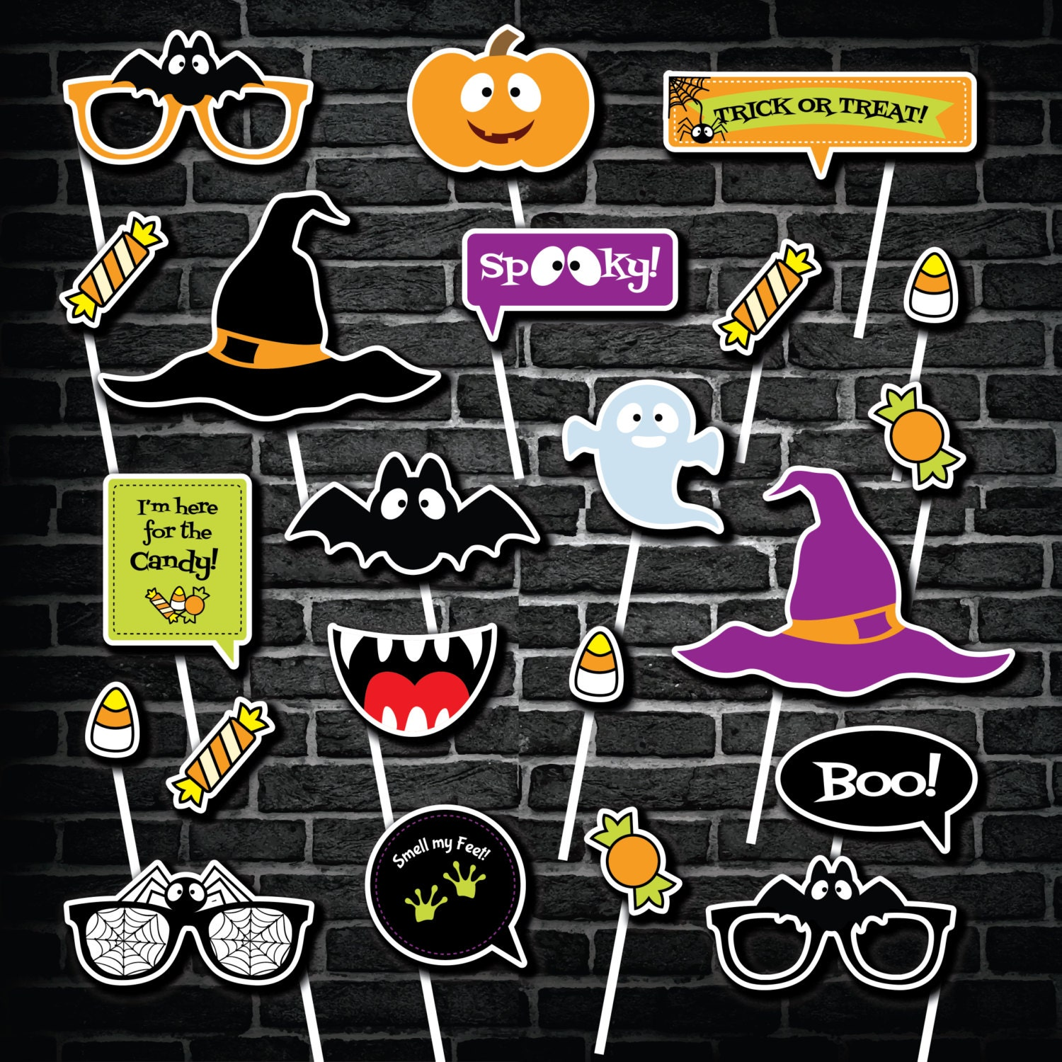 This is an image of Canny Halloween Photo Booth Props Printable Free