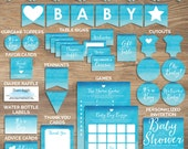 Baby Shower Printable Set - Blue Baby Shower - Baby Boy Shower - Watercolor ombre - Instant Download