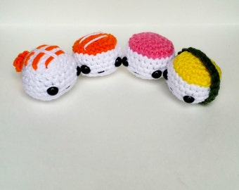 Amigurumi Sushi: (Set of Four) Made to Order