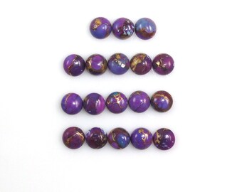 Purple Copper Turquoise Cabochons 4mm Round Shape Purple Color Accented with Copper Tones (9127)