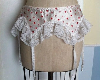 SALE ITEM-Vintage 1970's Heart Print Garter Belt