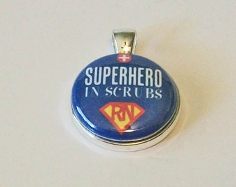 Red and Blue Superhero in Scrubs RN Nurse Round Silver Pendant