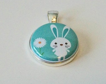 Adorable Turquoise and White Bunny and Daisy Easter Round Silver Pendant