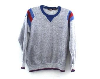 Vintage 80s sweatshirt heather gray raglan red blue pockets striped