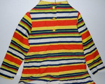 Vintage 1960s Child's Vibrant Stripped Button Down Coat 6 - 8 Years