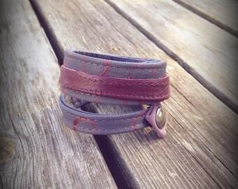 Leather Bracelet grey and Burgundy
