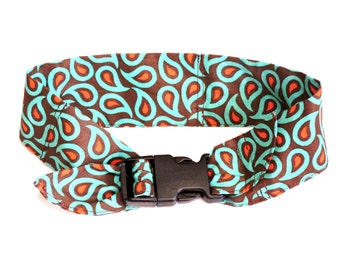 Paisley Cooling Collar, Dog Neck Cooler with Buckle, Size Medium 14 to 18 inch, Brown Orange Turquoise Stay Cool Fabric Band iycbrand