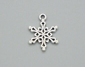 20pcs 20x15mm Vintage Silver Lovely Snowflake Charm Pendant, Snow Flake Charm Pendant