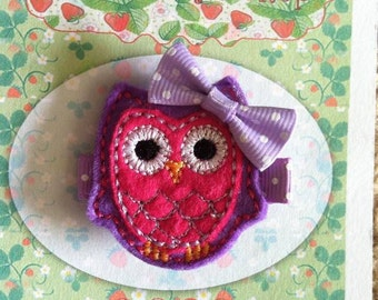 Purple and Pink Owl Hair Clip
