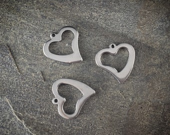 Stainless Steel-Silver HEART Charms Pendants 16x15mm (3)