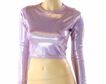 Long Sleeve Lilac Purple Holographic Crew Neck Crop Top Rave Festival Clubwear 152245