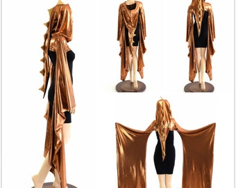 Copper Dragon Spiked Kimono Bolero with Long Pointy Gold Spiked Hood (Bolero only, Dress sold separately)  152794
