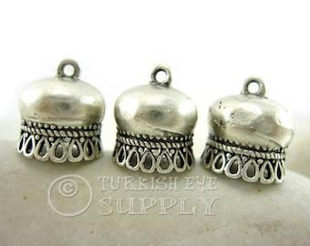 3 pc Tassel Caps, Antique Silver Plated Brass Tassel Cap, Turkish Jewelry