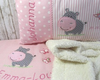 Saver set baby blanket and name pillow personalized for girls