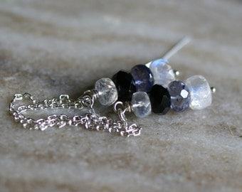 Moonstone earrings, black spinel earrings, iolite earrings, moonstone ear threads, black spinel threader earrings, moonstone jewelry gift
