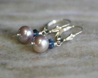 Freshwater pearl drop earrings, London Blue topaz dangle earrings, pearl jewelry, silver lever back ear wires, gift for her, bridal earrings