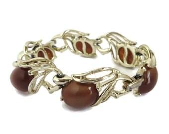 Lisner Brown Moonglow Bracelet, Vintage Gold Tone Link Bracelet