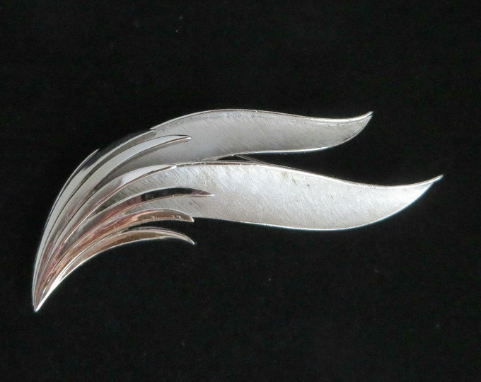 Trifari Leaf Brooch, Vintage Silver Tone Curved Leaf Matte Finish Signed Trifari Pin