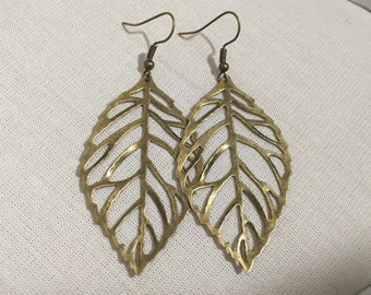 Oversized Leaf Earrings - Bronze Steampunk Inspired Outlined Leaves Jewellery