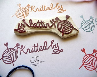 Knitted Rubber Stamp, Knitted By, Knitting, Yarn Hand Carved Rubber Stamp, Knitters, Wool and Needles