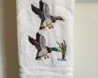 Embroidered ~MALLARD DUCKS~ High Quality Bath Hand Towel