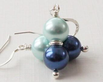 Blue and green earrings, shell pearl earrings, light green shell earrings, navy blue shell earrings, navy blue and aqua green earrings