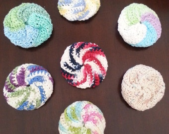 Set of 3 Resuable Dish Scrubbers/Scrubbies - Crocheted - 100% Cotton - Choose Your Colors