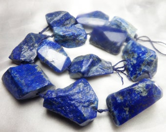 100 %Natural  Lapiz Lazuli  Polished&Rough Chunky Beads Strand Afghanistan 25-30mm LP55