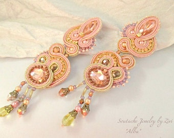 Statement Long Stud Sparkly Soutache Earring, Peach Blush Pink Gold Copper Earring, Soutache Earring Blush Pink Rose Gold Crystal Bridesmaid