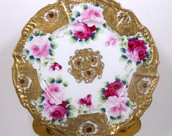 Vintage Plate Hand Painted Pink Roses Gold Border Scalloped Shape