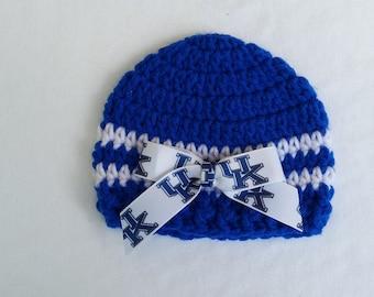 Baby Hat,University of Kentucky Wildcats, Hand Crochet, sizes Newborn or 3-6 months