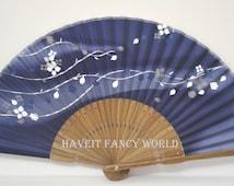 Hand made Japanese Hand Fan Folding Fan Dark Steel Blue (Sakura with Ribbons), Kimono Sensu hand fan,  folding fan, wedding fan