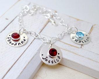 Personalized Birthstone Name Bracelet, New Mom Bracelet, Mommy Personalized  Bracelet, Mom Bracelet