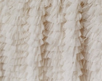 "Champagne ""Layers of Luxe"" Pleated Tulle Ruffle 34'"