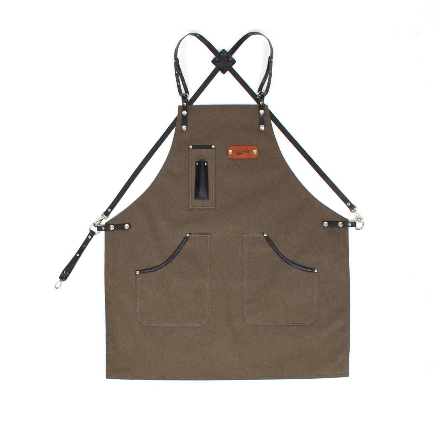 Plain white apron nz - Leather Apron Olive Green Canvas With Dark Brown Leather Strap Apron By Kustomduo