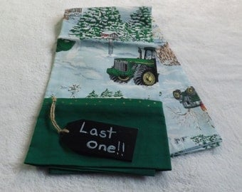 pillowcase made from John Deere tractor on the farm in winter scene cotton fabric