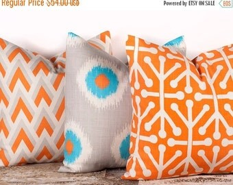 """SALE ENDS SOON Three Patterned Pillow Case Covers, Decorative Pillow Cases, Geometric Home Decor, 18 x 18"""""""