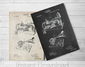 Gramophone Printables, Gramophone, Vintage Music Box, Music Room Decor,  PP0160