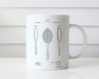 Vintage Tennis Racket Patent Mug, Tennis Mug, Sports Decor, Coach Gift, PP1128
